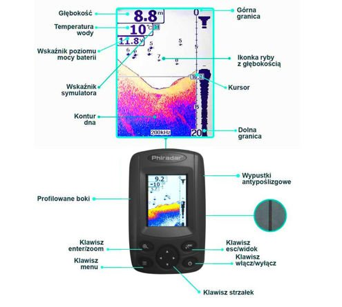 Echosonda Fish Finder FF188A PLUS kolorowy LCD
